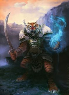 Warrior Tiger weretiger armor clothes clothing fashion player character npc | Create your own roleplaying game material w/ RPG Bard: www.rpgbard.com | Writing inspiration for Dungeons and Dragons DND D&D Pathfinder PFRPG Warhammer 40k Star Wars Shadowrun Call of Cthulhu Lord of the Rings LoTR + d20 fantasy science fiction scifi horror design | Not Trusty Sword art: click artwork for source