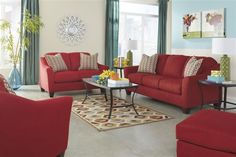 Hannin - Spice - Sofa & Loveseat by Signature Design by Ashley. Get your Hannin - Spice - Sofa & Loveseat at I Keating Furniture World, Minot ND furniture store. Living Room Red, Living Room Sofa, Living Room Furniture, Living Area, Small Living, Queen Sofa Sleeper, Affordable Furniture Stores, Sofa And Loveseat Set, Sofa Furniture