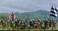 Commission: A group of Gascon knights that fought on the English side at Crecy 1346, and Poitiers 1356. On the left (blue & yellow tabard) is Dennis de St Omer, sire de Morbecque. In the centre, Bertrand sire de l'Esparre with three unnamed Gascon knights. Last picture shows the whole group growing! 28mm hard plastic Perrys.