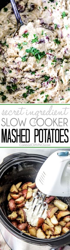 """Megacreamy, mega flavorful, mega easy make-ahead Slow Cooker Mashed Potatoes are about to become your favorite go-to mashed potatoes. You will never need to peel or boil potatoes again! I basically grew up on mashed potatoes. I loooooove mashed potatoes. Although in our home, our version of mashed potatoes were what we called """"whipped"""" potatoes...Read More »"""