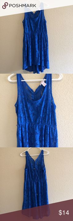 Candie's blue lace hi-low dress Description:Beautiful lace hi-low dress. Features a lace up back. Also has string belt loops but does not come with belt. Size: Large Brand: Candie's Sold at: Kohls  Condition: Excellent condition, no flaws. Candie's Dresses High Low