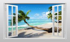 Caribbean tropical sea view 3D Window Scape Graphic Art Mural Wall Sticker
