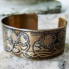 Etched Brass Cuff Sunflowers by AmongTheRuins on Etsy