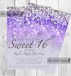 Printable Purple Sweet 16 Invitation Sixteen Print At Home Lilac Glitter Invite 16th Birthday Mac Or PC Word Pages Instant Download