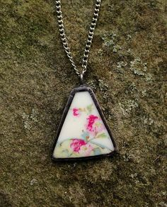 Broken china jewelry shard pendant antique cherry blossom porcelain recycled broken plate necklace - Laura Beth Love