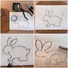 Dieser Hase ist auf Draht – oder – My first Easter bunny - Diy And Crafts Diy Crafts To Do, Wire Crafts, Jewelry Crafts, Arts And Crafts, My First Easter, Happy Easter, Easter Bunny, Bunny Bunny, Wire Ornaments