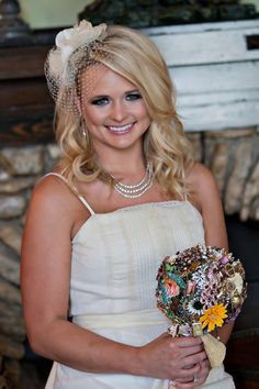 Miranda Lambert had each person attending her bridal shower bring a brooch of any kind, that meant something to them  and used it to make a brooch bouquet...how cool!
