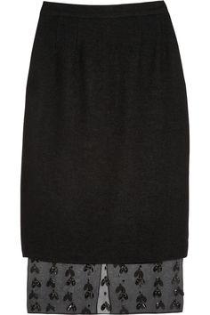 Mother of Pearl|Pega embellished silk organza-paneled crepe skirt|NET-A-PORTER.COM