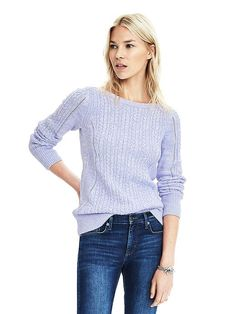 LOVE the color of this sweater, and the fact the the knit is kind of delicate.  Also I think that it might be boat neck? That kind of neckline looks good on me.