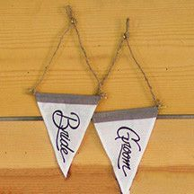 SET OF TWO BRIDE & GROOM PENNANT FLAGS WITH JUTE HANGER