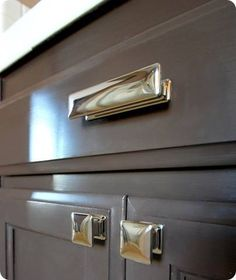 new cabinet hardware Valspar latex Betsy Ross House Brown in soft gloss Kitchen and Bath Formula Gloss Kitchen, Kitchen And Bath, Kitchen Decor, Espresso Kitchen, Kitchen Ideas, Home Design, Design Ideas, Diy Design, Interior Design