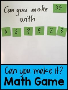 Can You Make It? Math Game - great game for differentiating. Can You Make It? Math Game - great game for differentiating. Fourth Grade Math, Second Grade Math, 4th Grade Math Games, Fun Math Games, Mental Maths Games, Maths Games Ks2, Maths Riddles, Year 5 Maths, Mental Math Strategies