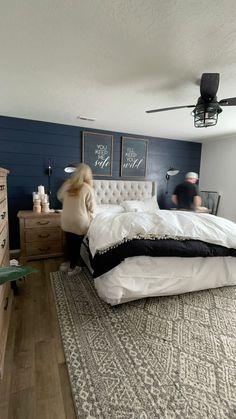 Master Bedroom Makeover, Master Bedroom Design, Home Decor Bedroom, Master Bedroom Furniture Ideas, Master Bedroom Decorating Ideas, Dark Master Bedroom, Dark Bedroom Walls, Wainscoting Bedroom, Romantic Master Bedroom