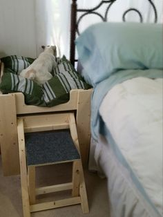 Bed for Large Dog, Raised Dog Platform Dog Bed Frame, Wood Dog Bed, Raised Dog Beds, Elevated Dog Bed, Bed Next, Dog Ramp, Sleeping Alone, Pet Beds, Dog Houses