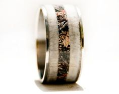 Mens Wedding RIng Camo with Antler Ring by StagHeadDesigns on Etsy