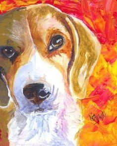 Beagle Art Print of Original Acrylic Painting by dogartstudio