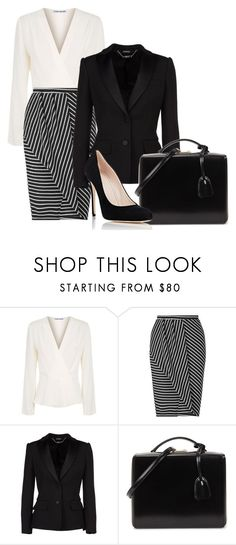 """""""Black and Cream Business Attire"""" by hisprincess2017 ❤ liked on Polyvore featuring Elizabeth and James, Miss Selfridge, Alexander McQueen, Mark Cross and Barneys New York"""