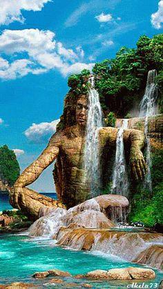 Fantasy Isle with waterfall gif Beautiful Gif, Beautiful World, Beautiful Places, Amazing Places, Nature Pictures, Cool Pictures, Beautiful Pictures, Gif Pictures, Beautiful Waterfalls
