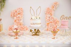 Some bunny is ONE! One of a kind prettified themed party rentals crafted, curated, + styled by Parisa Kaprealian {Pretty Please Baby} One Year Birthday, First Birthday Party Themes, Bunny Birthday, Baby Girl First Birthday, Birthday Cake, Birthday Ideas, Bunny Party, 1st Birthdays, Baby Shower