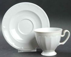 Chevalier Footed Cup & Saucer Set by Tirschenreuth | Replacements, Ltd. Cup And Saucer Set, White Porcelain, Plates, Tableware, Licence Plates, Dishes, Dinnerware, Griddles, Tablewares