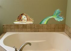 For our restroom!  Gorgeous!  I have the perfect spot!    Wall Decal - Mermaid. $95.00, via Etsy.