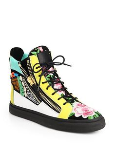 75851d1bca4 Giuseppe Zanotti Floral Mixed Media High-Top Sneakers from Saks Fifth Avenue