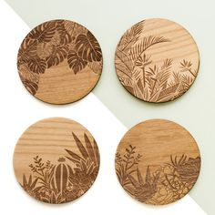 , Set of 4 Botanical Laser Cut Wood Coasters by Cardtorial - American Made & avail. , Set of 4 Botanical Laser Cut Wood Coasters by Cardtorial - American Made & available on Wonderful Things. Wood Burning Crafts, Wood Burning Patterns, Wood Burning Art, Wood Crafts, Laser Art, Laser Cut Wood, Laser Cutting, Wood Laser Ideas, Laser Cutter Ideas