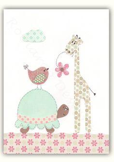 Baby Girl Nursery Art Nursery Elephant Decor Wall by SnoodleBugs