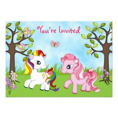 Cute Ponies Horse Birthday Invitations for Girls