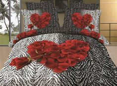 New Arrival Top Class Skin Care An Arrow Through Rose Heart 3D Print 4 Piece Bedding Sets  @bedding inn
