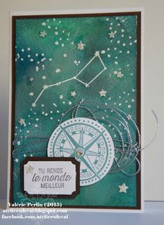 handmade card from Les Ateliers de Val ... stars theme with Big Dipper in white ... beautiful sponged sky ... compass to navigate too ... Stampin' Up!
