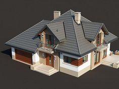 Zdjęcie projektu Opałek II N Outside House Paint, House Outside Design, Duplex Design, Modern House Design, Building Design, Building A House, New Model House, Brick Siding, Modern Bungalow House