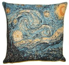 This Museum Collection gobelin cushion cover shows the famous painting Starry Night by Vincent Van Gogh (30 March 1853 – 29 July 1890) a major Post-Impressionist painter. He was a Dutch artist whose work had a far-reaching influence on 20th-century art. His output includes portraits, self portraits, landscapes and still lifes of cypresses, wheat fields and sunflowers. Van Gogh drew as a child but did not paint until his late twenties; he completed many of his best-known works during the last…