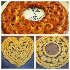 Not an English site but pretty self explanatory Yeast Bread Recipes, Baking Recipes, How To Make Bread, Food To Make, Pie Crust Designs, Bakers Kitchen, Bread Shaping, Gourmet Breakfast, Braided Bread