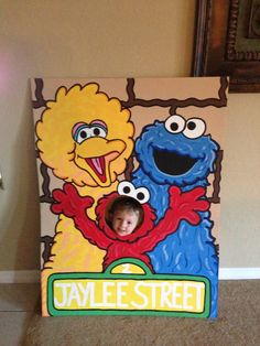 Lets Be Elmo Sesame Street 3 Character Photo Party Cut-Out Prop Standee Baby 1st Birthday, Boy Birthday Parties, Birthday Ideas, Anniversaire Elmo, Elmo Party, Mickey Party, Dinosaur Party, Dinosaur Birthday, Sesame Street Party