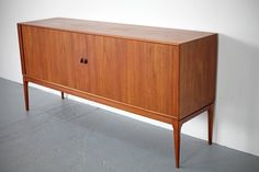 Teak Sideboard with Tambour Doors, Made in Denmark | From a unique collection of…