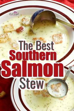 The best southern salmon stew is a crazy-easy recipe that my grandmother gave me 20 years ago. It's ready in ten minutes and is packed with southern comfort food spices and loads of butter! This is a winter favorite! Salmon Soup, Salmon Chowder, Salmon Fish Soup Recipe, Easy Family Meals, Easy Meals, Gluten Free Puff Pastry, Comfort Food, All Family, Salmon Recipes