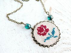 Red Rose cross stitch necklace - love this!