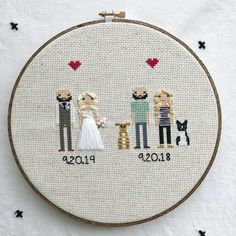 Anniversary Gift Cross Stitch Family Portrait Then and Now Cotton Anniversary Gift Wedding Couple Linen Anniversary Present for Her Gift for Anniversary Gift For Friends, Cotton Anniversary Gifts, 2nd Anniversary, Anniversary Present, Cross Stitch Family, Wedding Cross Stitch, Expensive Gifts, Presents For Her, Dmc Floss