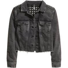 H&M Denim jacket with studs (82 AUD) ❤ liked on Polyvore featuring outerwear, jackets, tops, coats & jackets, black, flap jacket, black button jacket, studded jean jacket, black jacket and h&m jackets