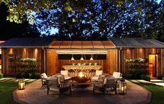 Backyard design by Backen, Gillam & Kroeger Architects Outdoor Areas, Outdoor Rooms, Outdoor Living, Outdoor Decor, Outdoor Fire, Indoor Outdoor, Porches, Eco Construction, Tiny House