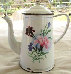 Vintage French Graniteware Coffee Pot Teapot Gooseneck Enamelware Floral