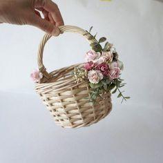 Flower girl basket basket with faux flowers wicker basket Burgundy Flowers, Faux Flowers, Diy Flowers, Wedding Gift Baskets, Rustic Baskets, Wicker Picnic Basket, Victorian Flowers, Flower Girl Basket, Basket Decoration