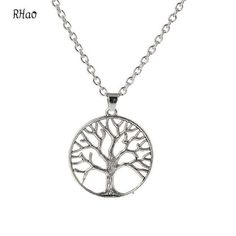 Fashion RHao women Hollow tree pendant necklace for women sweater dresses short necklace silver plated peace tree short necklace