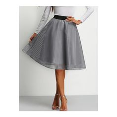SheIn(sheinside) Grey High Waist Grid Flare Skirt (€16) ❤ liked on Polyvore featuring skirts, grey, flared skirt, grey knee length skirt, gray skirt, knee length skater skirt and flare skirt