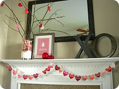 {Valentines} Mantel Makeover - I so miss having a mantle but I can do this on the buffet instead.