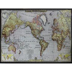 Quadro Tela Impressa Mapa Mundi 120x158x4cm - Fullway