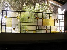 FLW amber stained glass transom