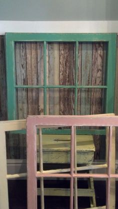 Vintage Distressed Yellow Window Frame