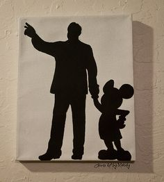 Walt Disney and Mickey Silhouette Canvas 8x10 on Etsy, $20.00